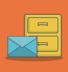 Envelope and office drawers icon vector