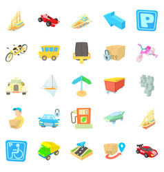 Fast driving icons set isometric style vector