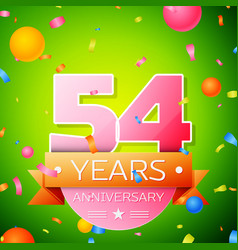 fifty four years anniversary celebration design vector image