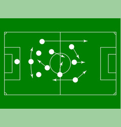 flat green field with soccer game strategy vector image