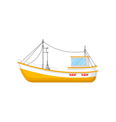Flat icon of yellow fishing trawler ship vector