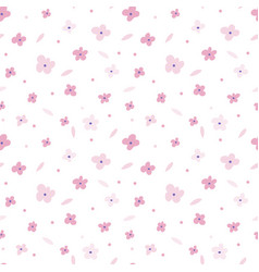 Floral seamless pattern with pink flowers on white vector