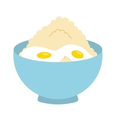 Flour powder with eggs isolated icon design vector