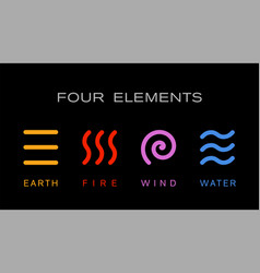 four elements simple line symbol logo template vector image