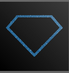 Frame blue sequin diamond glitter sparkle vector