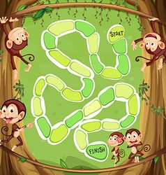 Game template with monkeys on the tree vector image