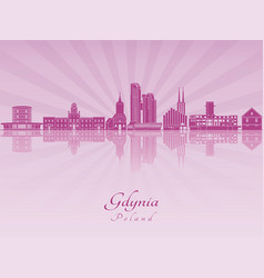 Gdynia skyline in purple radiant orchid vector