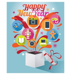 Gift Box with Happy New Year Text and Various Icon vector
