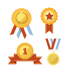 gold awards and medals with ribbons vector image