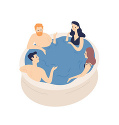 Group smiling friends relaxing in jacuzzi vector