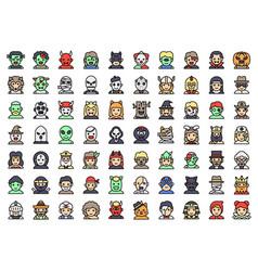 Halloween avatar filled icon set vector