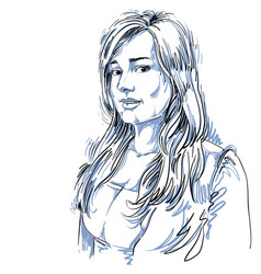 Hand-drawn beautiful romantic woman monochrome vector