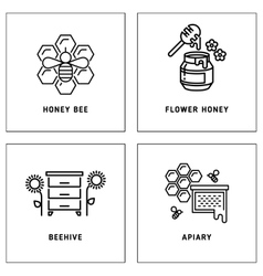 Honey bees honeycomb logos template set vector