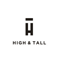 initial letter th ht monogram negative space logo vector image