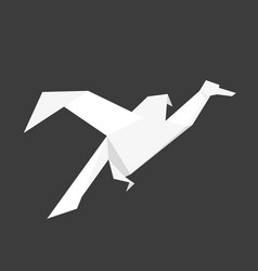 Japanese origami bird made of white paper vector
