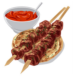 Kebabs with sauce vector