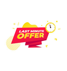 Last minute offer sale countdown ribbon badge vector