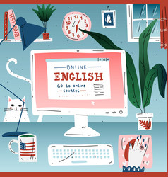 Learn english online education language workplace vector