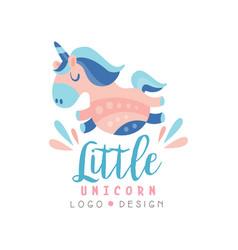 Little unicorn logo design emblem can be used vector