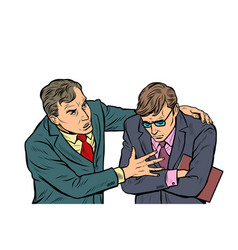 male businessman consoling colleague vector image