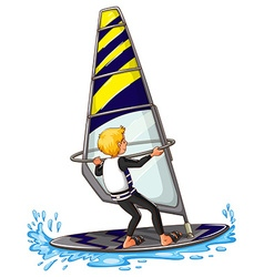 Man athlete sailing on surfboard vector image