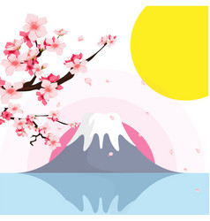 mount fuji sakura sunset background image vector image