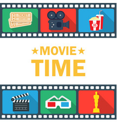 Movie time poster with clapperboard popcorn vector