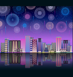 neon night sky with firework city line flat vector image