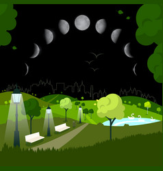 Night city park with moon phases on sky vector