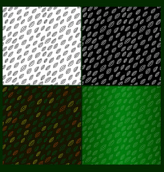 patterns with leaves on different backgrounds vector image