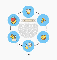 pizza concept with thin line icons for menu design vector image vector image