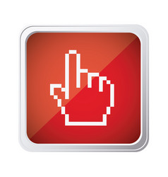 red emblem mouse hand cursor icon vector image