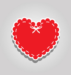 red paper cut heart label with white lacing and vector image