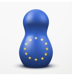 Russian tradition matrioshka dolls in EU flag vector image