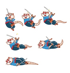 Samurai Mouse Dying Sprite vector image