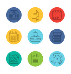 school and education linear icons set vector image