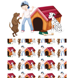Seamless background design with boy and two dogs vector