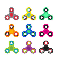 set of hand spinner toys in flat and cartoon style vector image