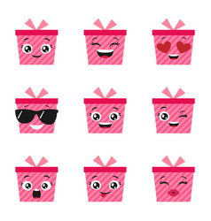 set of happy present boxes vector image