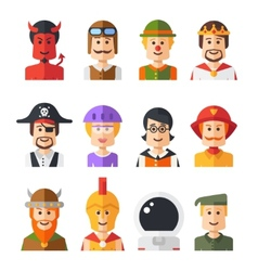 Set of isolated flat design people icon avatars vector