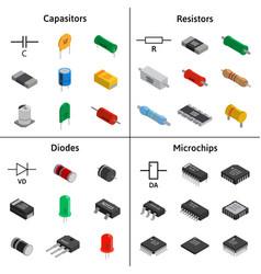 Set of izometric electronic components vector