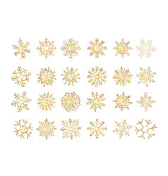 set of snowflakes gold flake of snow gradient vector image