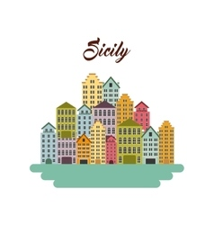 Sicily city icon Italy culture design vector