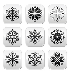 Snowflakes buttons set on black and white vector
