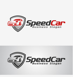 Speed car logo template vector