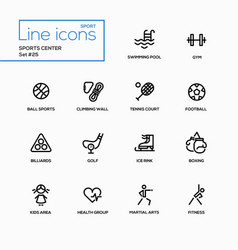 sports center - modern single line icons vector image