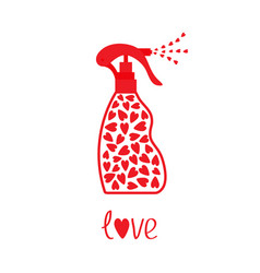 spray bottle dispenser tube of cream with hearts vector image