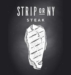 steak chalkboard kitchen poster with steak vector image