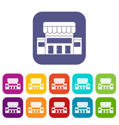 Supermarket building icons set vector