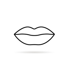 Thin line lips icon isolated on white vector